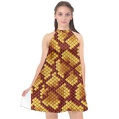 Snake Skin Pattern Vector Halter Neckline Chiffon Dress  by BangZart
