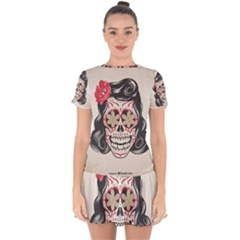 Woman Sugar Skull Drop Hem Mini Chiffon Dress by LimeGreenFlamingo