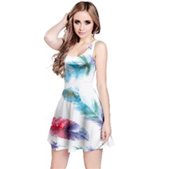 Watercolor Feather Background Reversible Sleeveless Dress