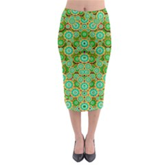 Flowers In Mind In Happy Soft Summer Time Midi Pencil Skirt by pepitasart