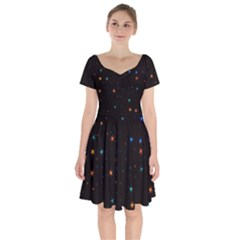 Awesome Allover Stars 02e Short Sleeve Bardot Dress by MoreColorsinLife
