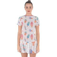 Hand Drawn Ice Creams Pattern In Pastel Colorswith Pink Watercolor Texture  Drop Hem Mini Chiffon Dress