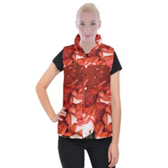 Nice Rose With Water Women s Button Up Puffer Vest by BangZart