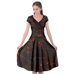 Volcanic Textures Cap Sleeve Wrap Front Dress by BangZart