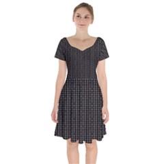 Dark Black Mesh Patterns Short Sleeve Bardot Dress