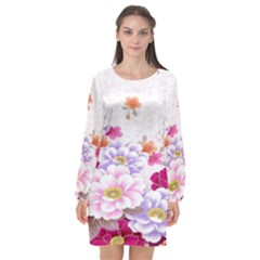 Sweet Flowers Long Sleeve Chiffon Shift Dress  by BangZart
