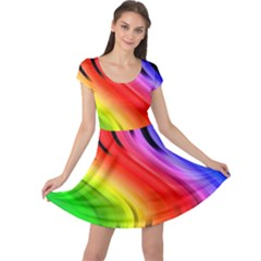 Colorful Vertical Lines Cap Sleeve Dresses by BangZart