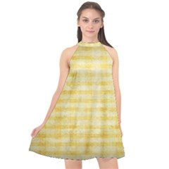 Spring Yellow Gingham Halter Neckline Chiffon Dress  by BangZart