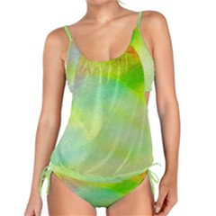 Abstract Yellow Green Oil Tankini by BangZart
