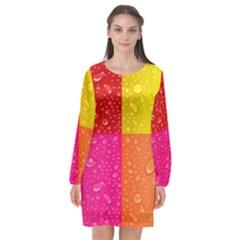 Color Abstract Drops Long Sleeve Chiffon Shift Dress  by BangZart