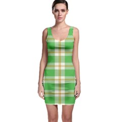 Abstract Green Plaid Sleeveless Bodycon Dress by BangZart