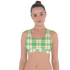 Abstract Green Plaid Cross String Back Sports Bra by BangZart