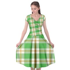 Abstract Green Plaid Cap Sleeve Wrap Front Dress