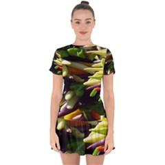 Bright Peppers Drop Hem Mini Chiffon Dress by BangZart