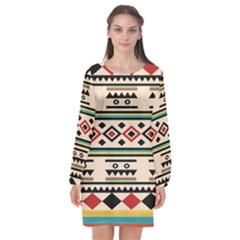 Tribal Pattern Long Sleeve Chiffon Shift Dress  by BangZart