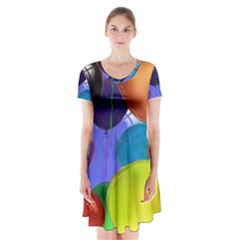 Colorful Balloons Render Short Sleeve V Neck Flare Dress by BangZart