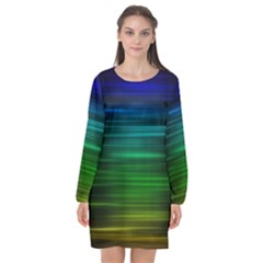Blue And Green Lines Long Sleeve Chiffon Shift Dress