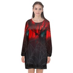 Spider Webs Long Sleeve Chiffon Shift Dress  by BangZart
