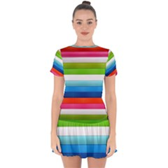 Colorful Plasticine Drop Hem Mini Chiffon Dress by BangZart