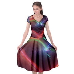 Neon Heart Cap Sleeve Wrap Front Dress by BangZart