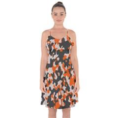 Camouflage Texture Patterns Ruffle Detail Chiffon Dress by BangZart