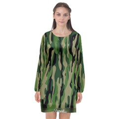 Green Military Vector Pattern Texture Long Sleeve Chiffon Shift Dress  by BangZart