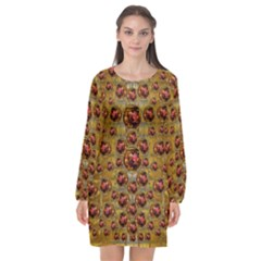 Angels In Gold And Flowers Of Paradise Rocks Long Sleeve Chiffon Shift Dress  by pepitasart