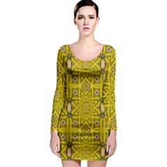 Stars And Flowers In The Forest Of Paradise Love Popart Long Sleeve Bodycon Dress by pepitasart