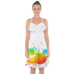 Colorful Abstract Ruffle Detail Chiffon Dress by BangZart