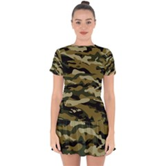 Military Vector Pattern Texture Drop Hem Mini Chiffon Dress