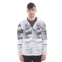 Enso, A Perfect Black And White Zen Fractal Circle Hooded Wind Breaker (men)