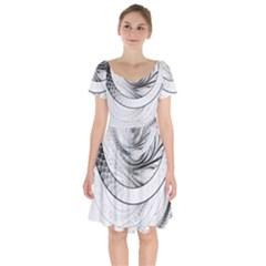 Enso, A Perfect Black And White Zen Fractal Circle Short Sleeve Bardot Dress