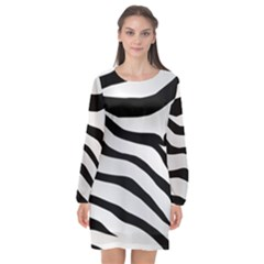 White Tiger Skin Long Sleeve Chiffon Shift Dress