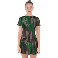 Army Green Camouflage Drop Hem Mini Chiffon Dress by BangZart