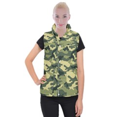 Camouflage Camo Pattern Women s Button Up Puffer Vest by BangZart