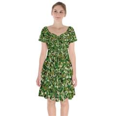 Camo Pattern Short Sleeve Bardot Dress