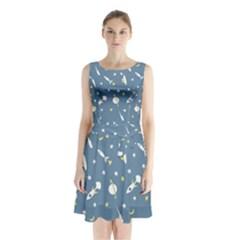 Space Rockets Pattern Sleeveless Waist Tie Chiffon Dress by BangZart