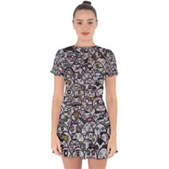 Alien Crowd Pattern Drop Hem Mini Chiffon Dress by BangZart