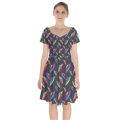 Alien Patterns Vector Graphic Short Sleeve Bardot Dress