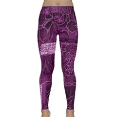 Purple Background Patchwork Flowers Classic Yoga Leggings by BangZart