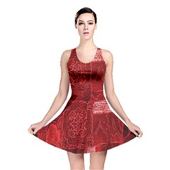 Red Background Patchwork Flowers Reversible Skater Dress by BangZart