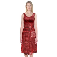 Red Background Patchwork Flowers Midi Sleeveless Dress
