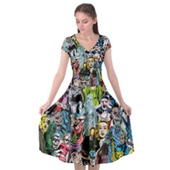 Vintage Horror Collage Pattern Cap Sleeve Wrap Front Dress