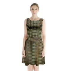 Background Colors Of Green And Gold In A Wave Form Sleeveless Waist Tie Chiffon Dress by BangZart