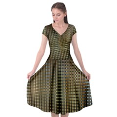 Background Colors Of Green And Gold In A Wave Form Cap Sleeve Wrap Front Dress by BangZart