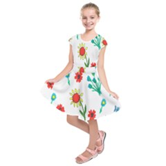 Flowers Fabric Design Kids  Short Sleeve Dress