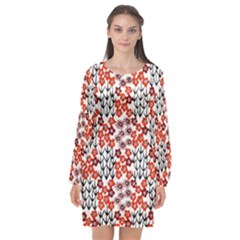 Simple Japanese Patterns Long Sleeve Chiffon Shift Dress  by BangZart