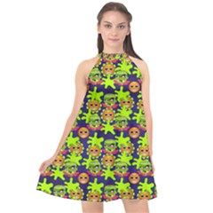 Smiley Monster Halter Neckline Chiffon Dress