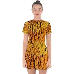 Yellow Chevron Zigzag Pattern Drop Hem Mini Chiffon Dress by BangZart
