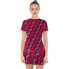 Red Turquoise Black Zig Zag Background Drop Hem Mini Chiffon Dress by BangZart